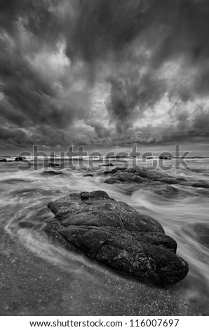 Dramatic BW Beach Scene - stock photo
