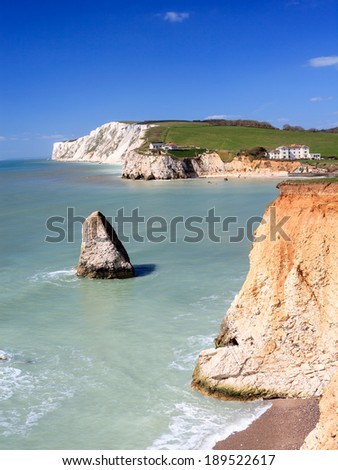 Dramatic chalk cliffs at Freshwater Bay on the Isle Of Wight England UK Europe - stock photo