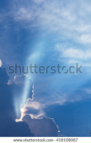 dramatic cloud sunset time with sunbeams, sun rays in the sky - stock photo