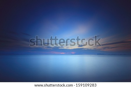 dramatic  clouds and sunset sky.Long exposure technique  - stock photo