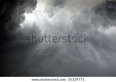 Dramatic clouds during a rainstorm - stock photo