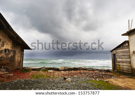 Dramatic clouds of the storm over Indian ocean - stock photo
