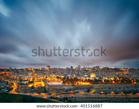 Dramatic clouds over Jerusalem old city, Israel - stock photo