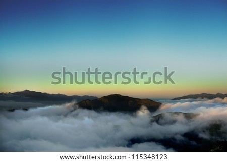 Dramatic clouds over the  high mountain in Taiwan, Asia - stock photo