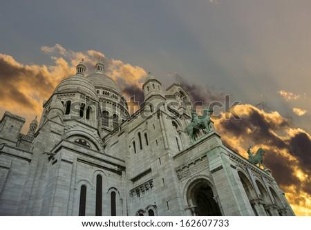 Dramatic cloudscape over Sacre Coeur basilique, Paris - stock photo