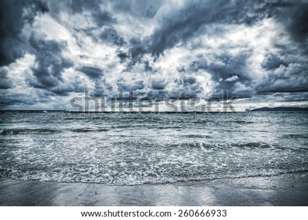 dramatic cloudy sky over the sea  - stock photo
