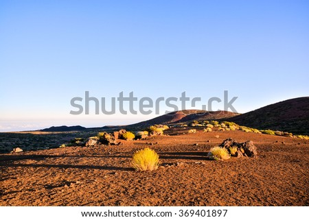 Dramatic Cloudy Suset Landscape Desert - stock photo