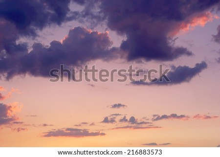 Dramatic evening sky with clouds - stock photo