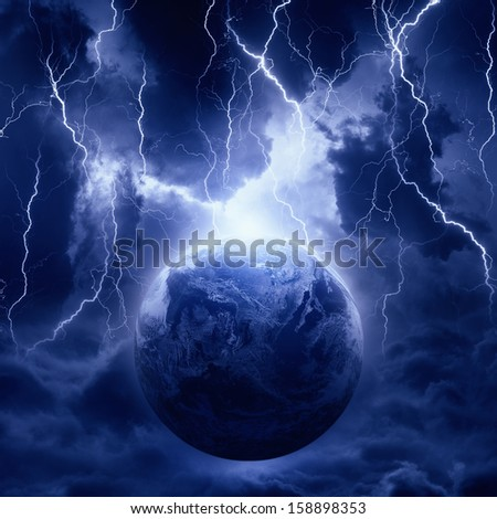 Dramatic fantastic background - lightnings hits planet Earth in dark dramatic sky, end of world. Elements of this image furnished by NASA - stock photo