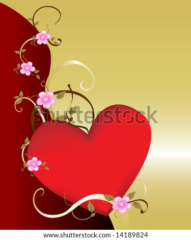 Dramatic floral heart background on gold. Ideal for romantic and tender concepts. - stock photo