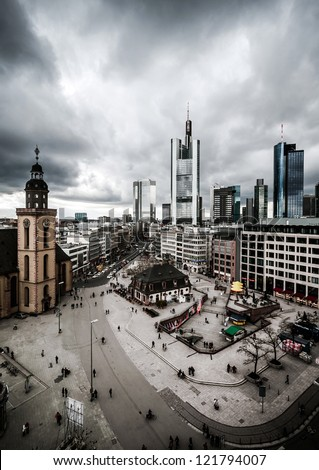 Dramatic Frankfurt downtown with skyscrapers - stock photo