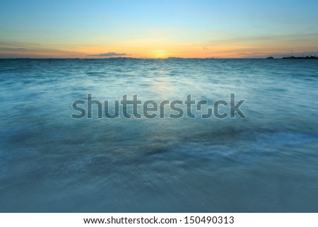 Dramatic golden sky and tropical sea at dusk ,samui island,Thailand - stock photo