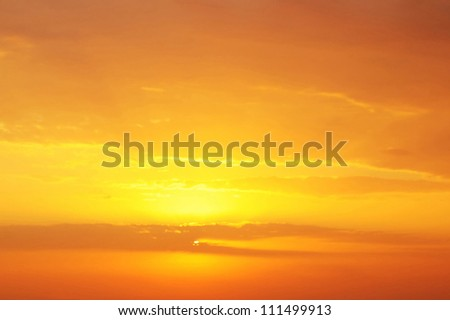 Dramatic golden sky at the sunrise background - stock photo