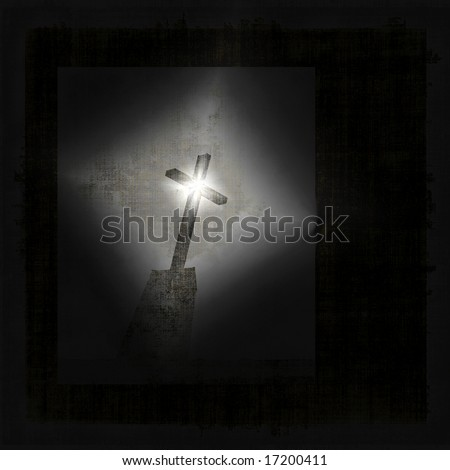 Dramatic Grunge Cross, Star Effect And Lots Of Copyspace - stock photo