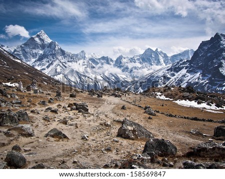 Dramatic Himalayan landscape on Everest Base Camp Trek, Khumbu Region, Nepal. - stock photo