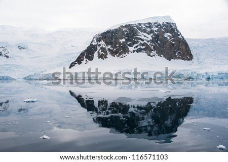 Dramatic landscape in Antarctica, storm is coming - stock photo