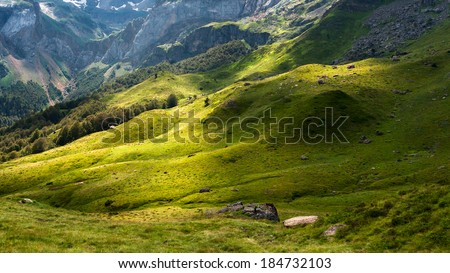 Dramatic landscape in the French Pyrenees - stock photo