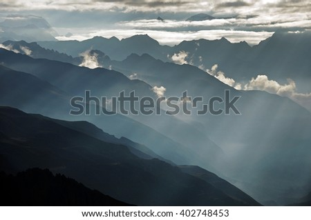 Dramatic light in high mountains, Himalaya, Nepal - stock photo
