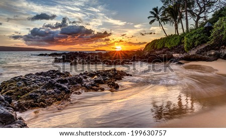 Dramatic Maui sunset - stock photo