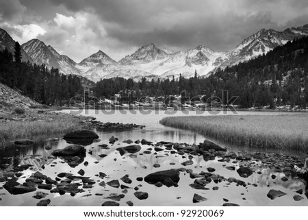 Dramatic Mountain Landscape, Black and White Image - stock photo