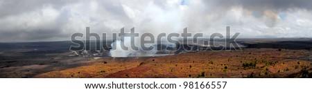 Dramatic Panorama Image of the Kilauea Volcano in Hawaii - stock photo