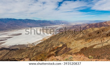 Dramatic panoramic view. Dante's view is a fantastic area high above Badwater with views all up and down Death Valley and across to the Panamint Mountains. Dante's View, Death Valley National Park - stock photo