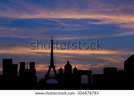 Dramatic Paris skyline behind clouds Scenic  sunset background - stock photo
