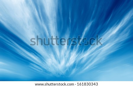 Dramatic, radiation explosion shaped clouds. - stock photo