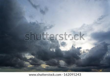 Dramatic rain cloud background - stock photo