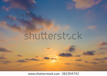Dramatic ray of light - Sun sky and cloudy background. - stock photo