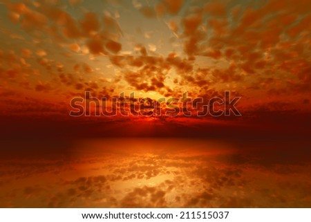 dramatic red sunset over calm sea - stock photo