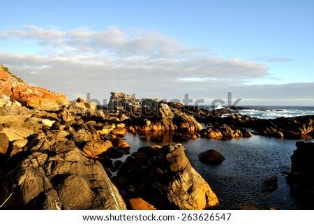 Dramatic Rock Seascape - stock photo