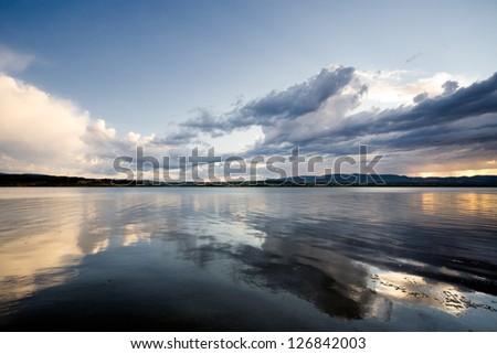 Dramatic scene to lake - stock photo