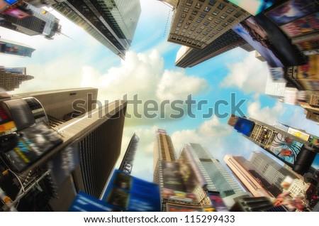 Dramatic Sky above Giant Skyscrapers, fisheye view - USA - stock photo