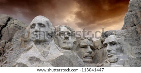 Dramatic Sky above Mount Rushmore National Memorial - stock photo