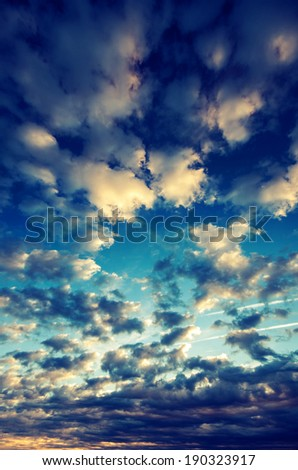 Dramatic sky before dawn. Vintage picture - stock photo