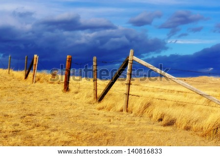 Dramatic sky on Rural grasslands, Colorado, United States - stock photo