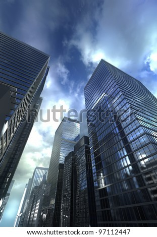 Dramatic sky over modern building - stock photo
