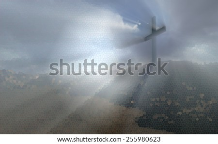 Dramatic sky silhouettes wooden cross with shafts of sunlight breaking through the clouds - stock photo