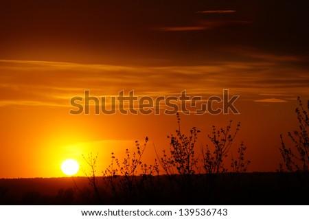 Dramatic sky sunset - stock photo