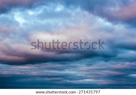Dramatic sky with clouds on sunset. heaven background - stock photo