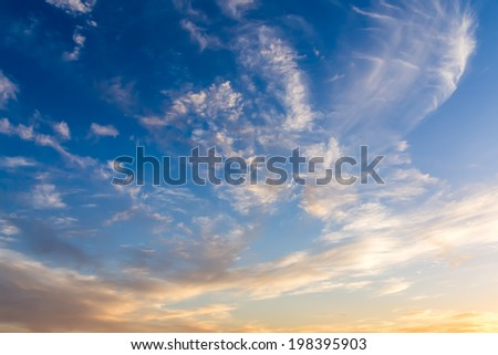 Dramatic sky with white clouds.  - stock photo