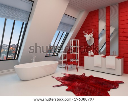 Dramatic spacious red and white bathroom interior with a freestanding tub, sloping wall with view windows, double vanity and a trophy on the wall - stock photo