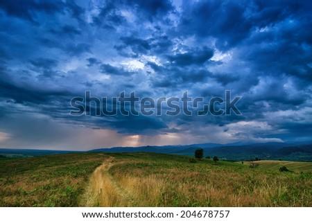 Dramatic storm scene - stock photo