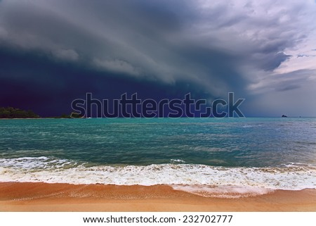 Dramatic stormy clouds and sea. - stock photo
