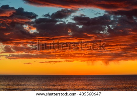 Dramatic stormy sky and sunset, South Australia - stock photo