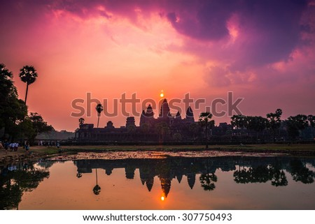 Dramatic Sunrise at Angkor Wat, Siem Reap, Cambodia - stock photo