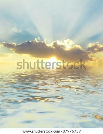 Dramatic Sunrise Bright Heavens - stock photo