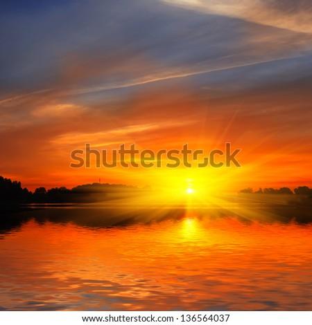 dramatic sunset - stock photo
