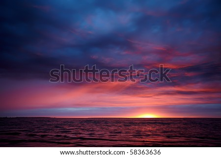 Dramatic sunset - stock photo